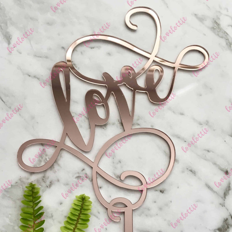 Love (swirl) Acrylic Rose Gold Mirror Engagement Wedding Cake Topper
