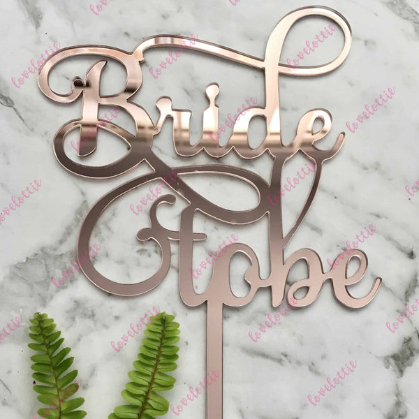 Bride To Be Acrylic Rose Gold Mirror Bridal Shower Cake Topper