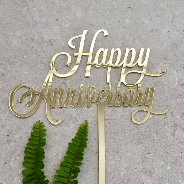 Happy Anniversary Acrylic Gold Mirror Wedding Cake Topper