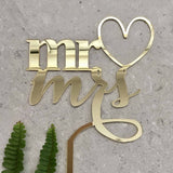 Mr & Mrs Heart Acrylic Gold Mirror Wedding Cake Topper