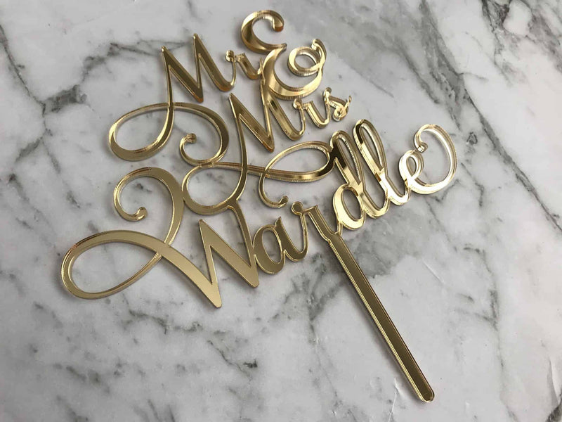Custom Mr & Mrs Name Wedding Cake Topper