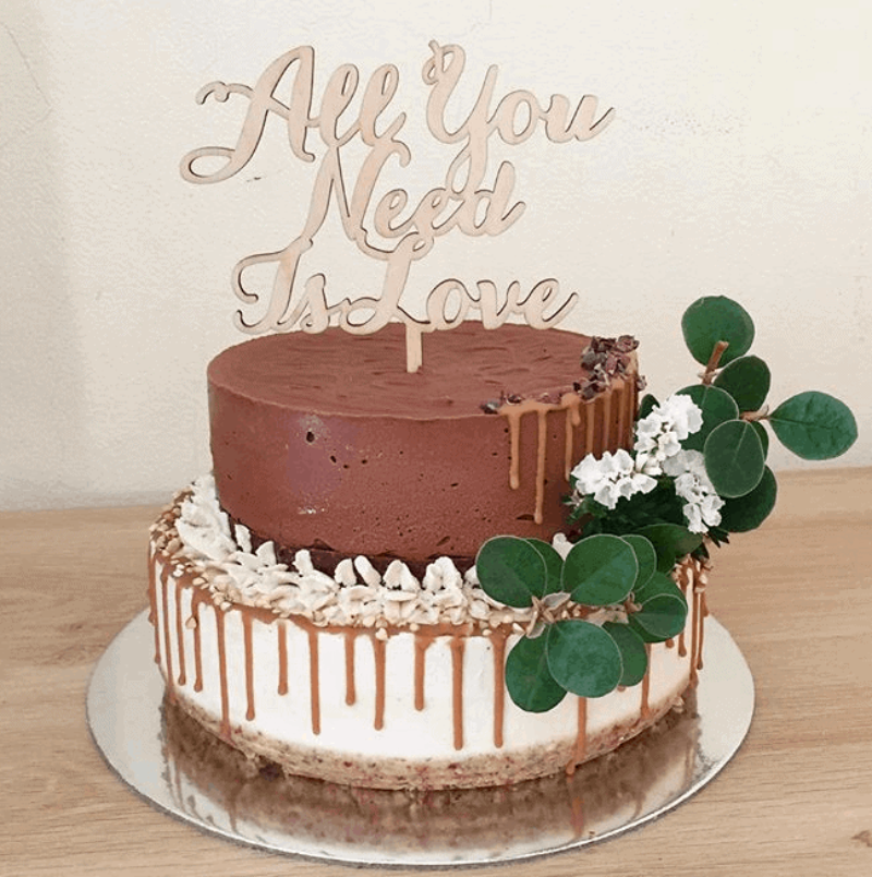 All You Need Is Love Rustic Wood Wedding Engagement Cake Topper