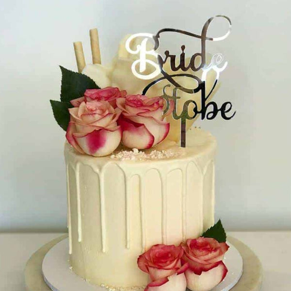 Bride To Be Acrylic Gold Mirror Bridal Shower Cake Topper