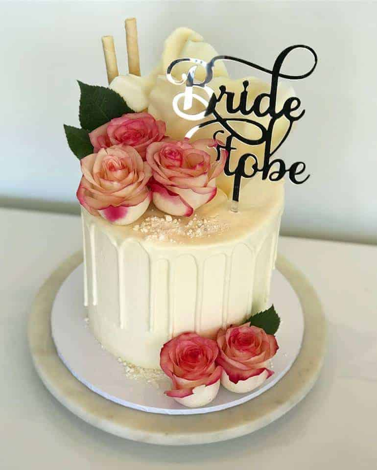 Bride To Be Acrylic Silver Mirror Bridal Shower Cake Topper