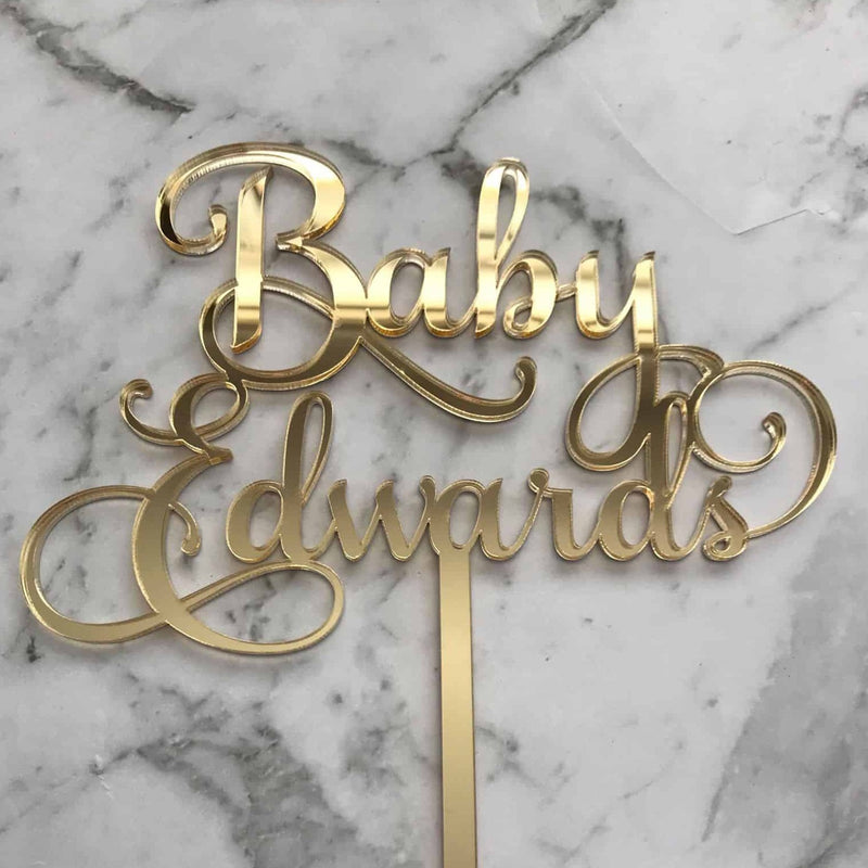 Custom Name Baby Shower Cake Topper Style Edwards
