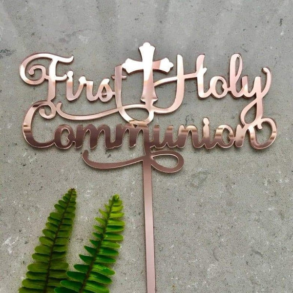 First Holy Communion Acrylic Rose Gold Mirror Cake Topper