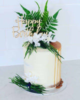 Happy Birthday Rustic Wood Birthday Party Cake Topper