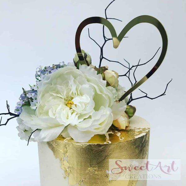 Heart Acrylic Gold Mirror Love Wedding Engagement Cake Topper