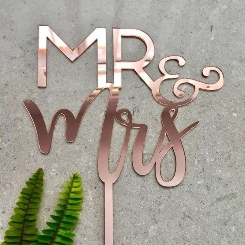 Mr & Mrs Acrylic Rose Gold Mirror Wedding Cake Topper