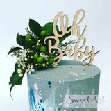 Oh Baby Rustic Wood Baby Shower Cake Topper