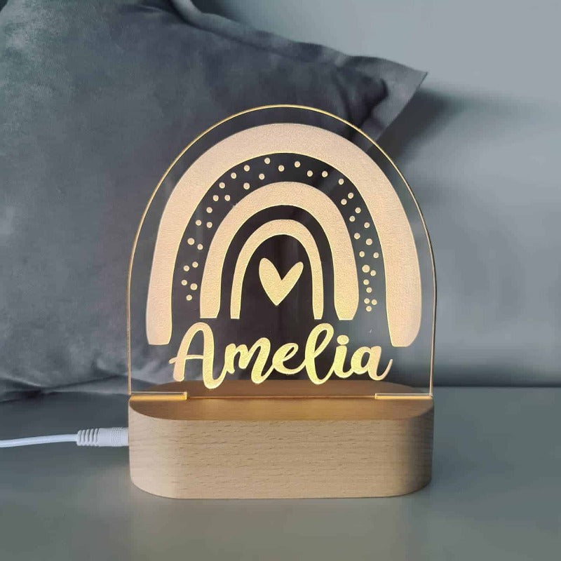 Personalised Baby Night Light - Rainbow