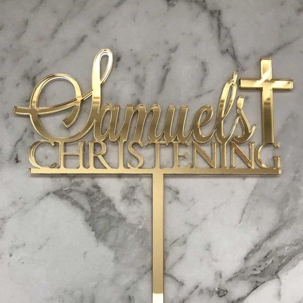 Custom Name Christening Cake Topper