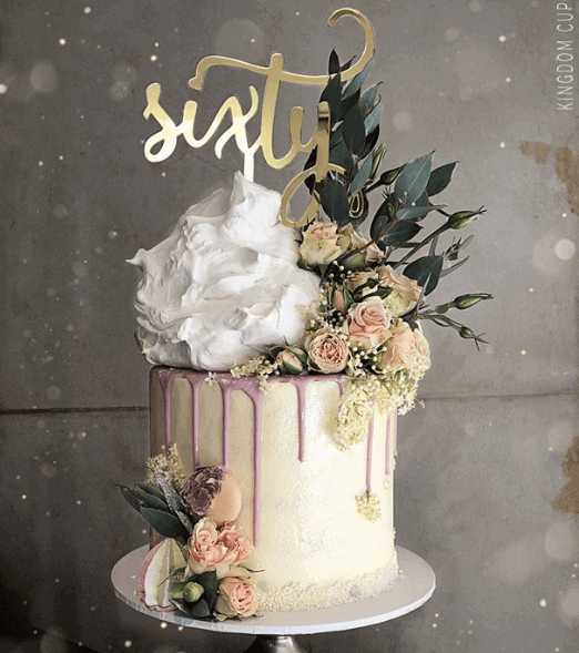 Sixty Acrylic Gold Mirror 60th Birthday Cake Topper