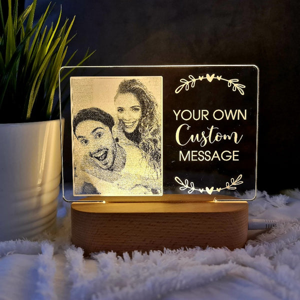 Valentine's Day Personalised Photo Light - Custom Message