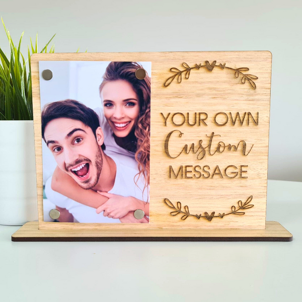 Personalised Valentines Day Gift Photo Frame - Custom Text