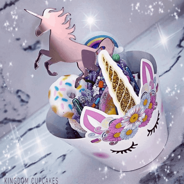 10 x Unicorn Cupcake Rose Gold Mirror Acrylic Brithday Cake Topper