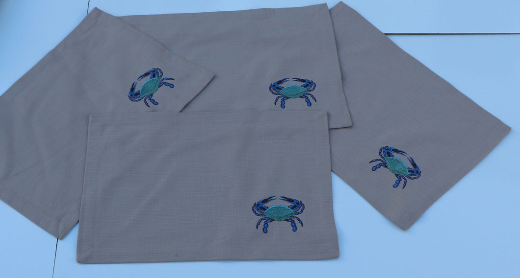 Placemats With Embroidered Crabs