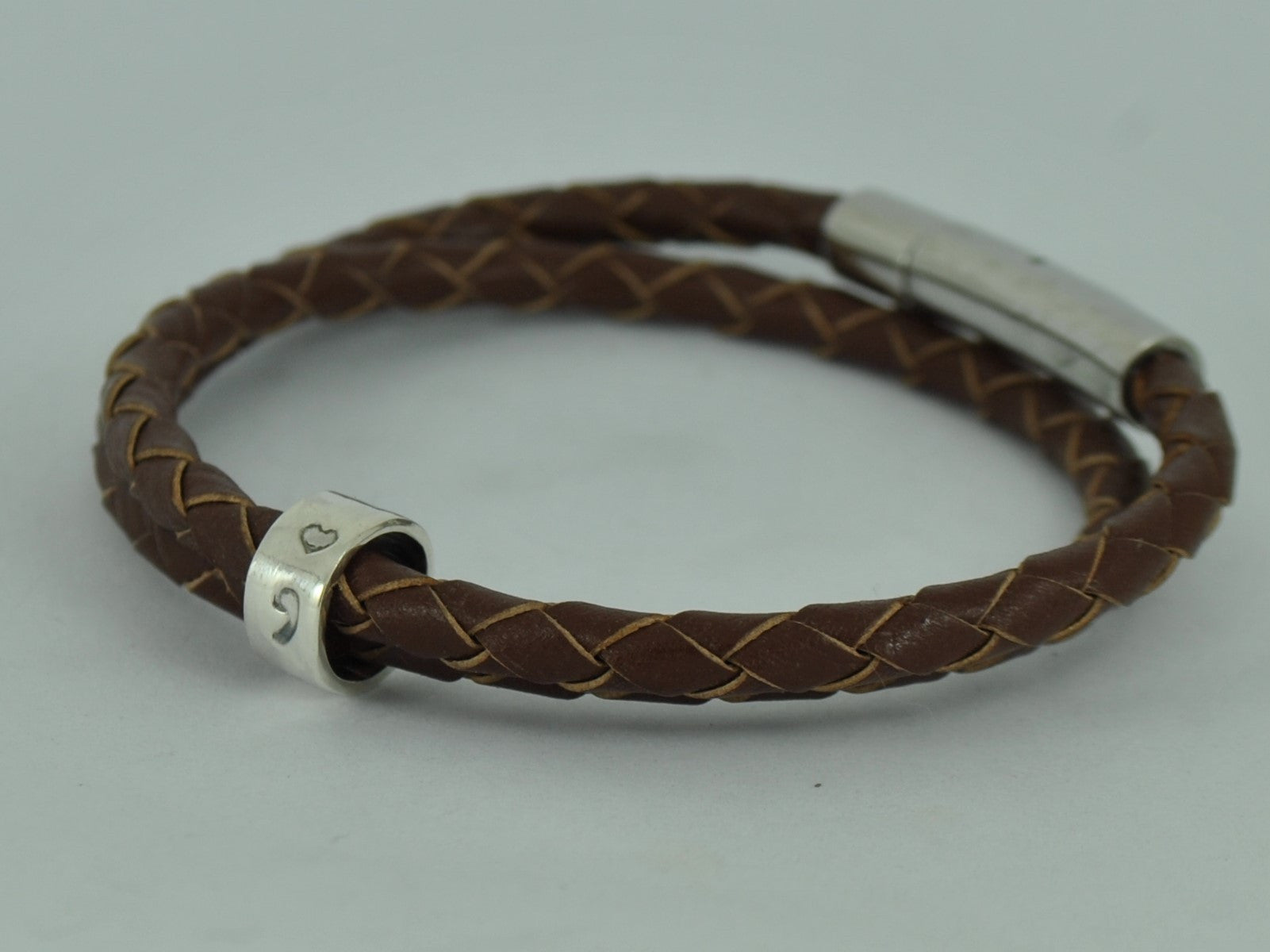 MEN S Personalised SEMICOLON Double Wrap Black Brown Leather