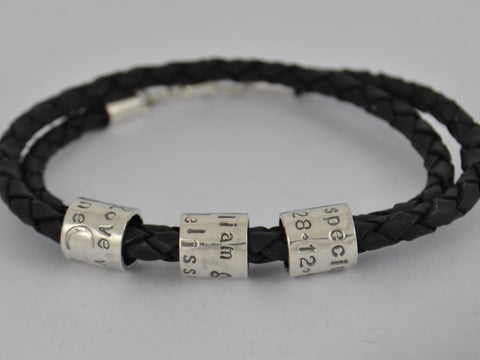 Personalised Men's Double Wrap Chunky Black Leather Bracelet Sterling Silver Family Beads