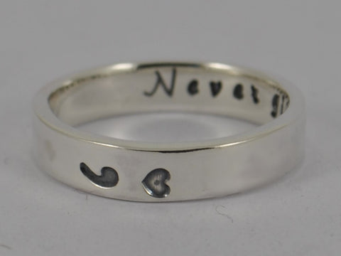 NEVER GIVE UP Secret Message SEMICOLON Sterling Silver Personalised Ring Semi colon