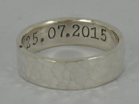 Hammered Personalised Sterling Silver Mans Wedding Ring - 6mm, 8mm