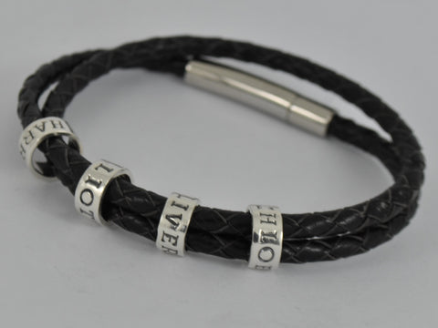 Men's Personalised Chunky Double Wrap Black Leather Bracelet Sterling Silver Charm Beads