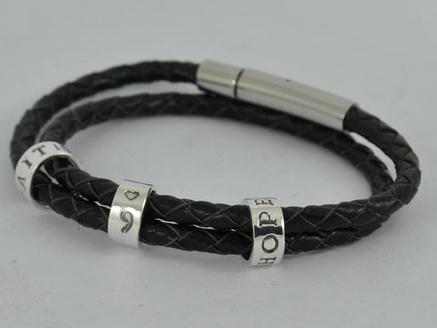 LADIES HEART or standard SEMICOLON Personalised Double Wrap Leather Bracelet Sterling Silver Charm
