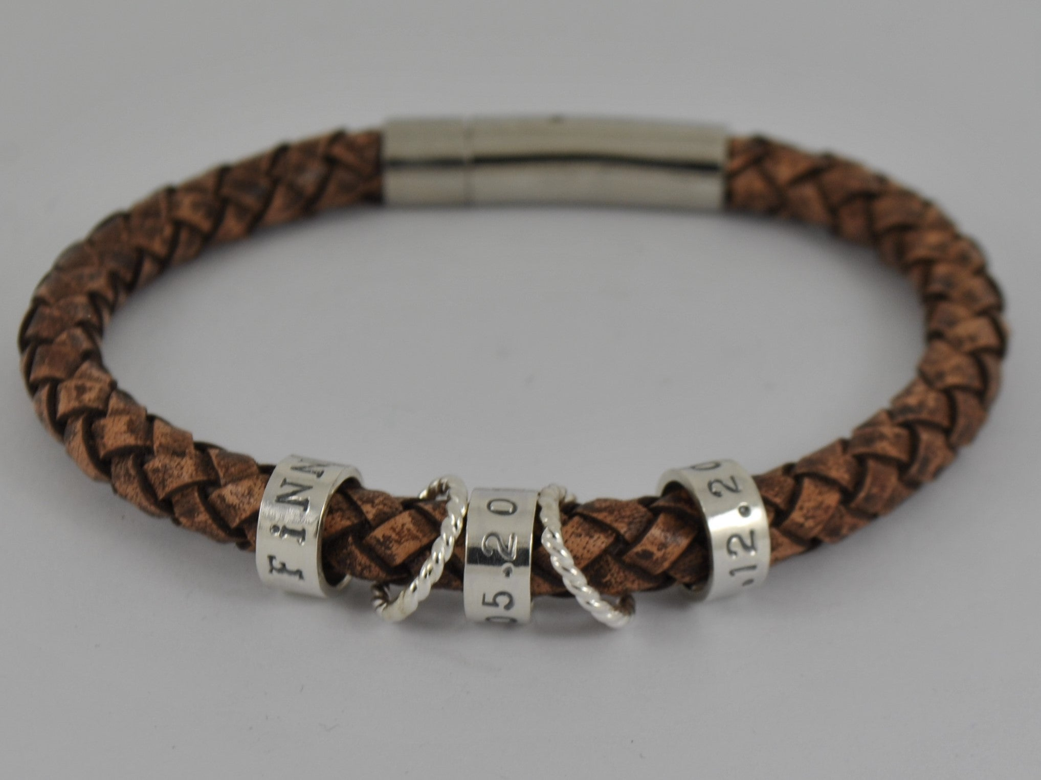 Men s Brown or Black Leather Bracelet Personalised Sterling Silver