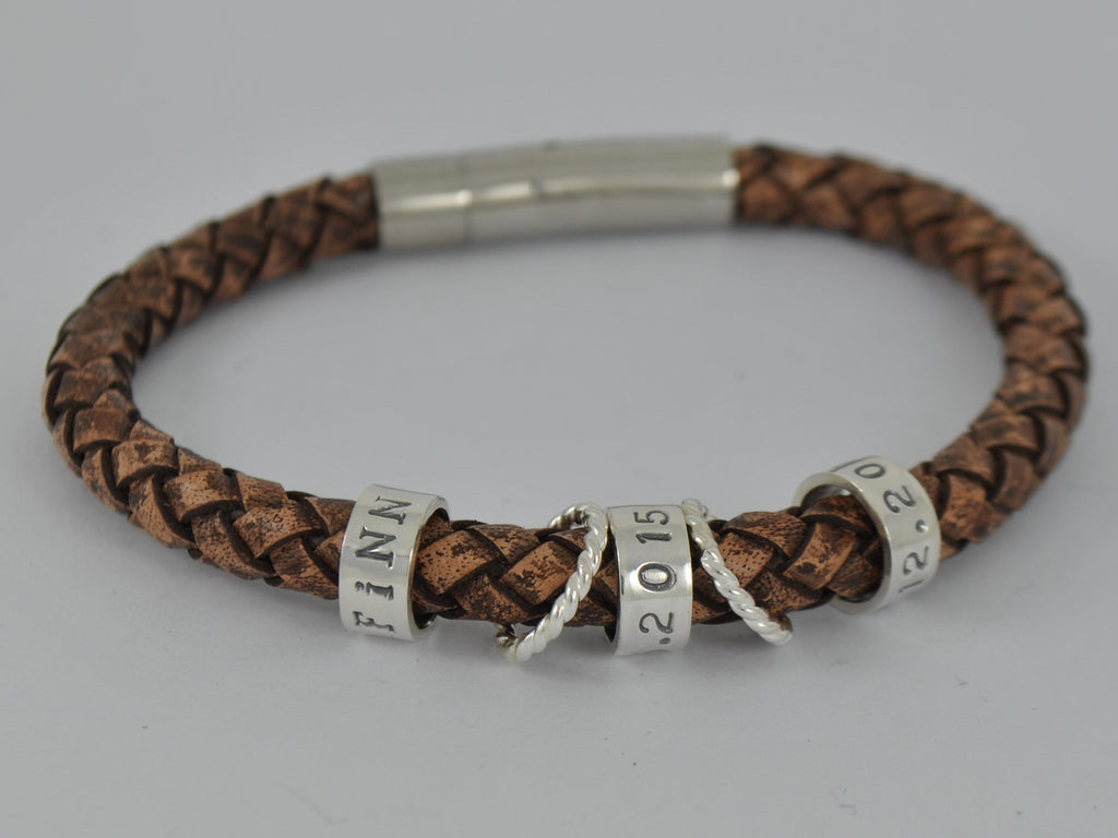 s brown leather bracelet personalised sterling silver
