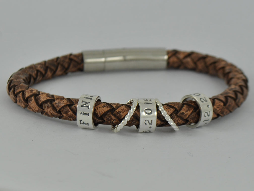 Men's Brown or Black Leather Bracelet Personalised Sterling Silver Charm Beads