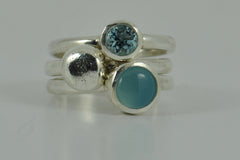 Misty Blue Ocean Sterling Silver Stacking Rings