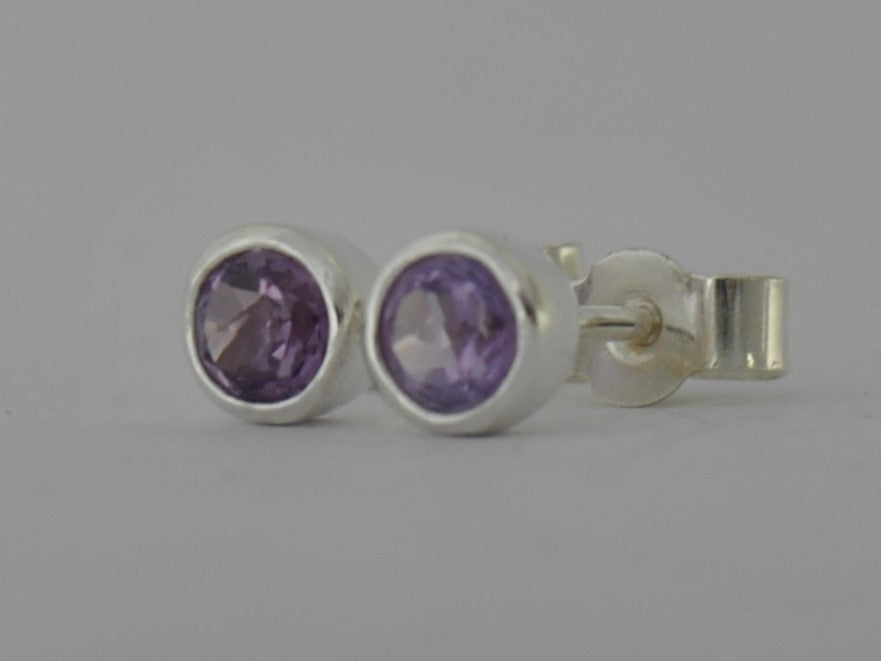 Amethyst Purple Sterling Silver Stud Post Earrings February Birthstone Gift 4mm