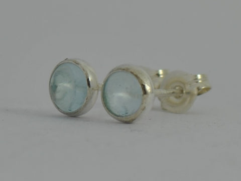 Aquamarine Cabochon Aqua Blue Sterling Silver Stud Post Earrings March Birthstone Gift 5mm