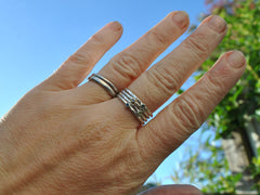 Tiny Hammered Birthstone Ring Sterling Silver stackable stacking mothers family little tiny small