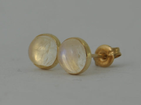 Gold Rainbow Moonstone Cabochon Yellow 12k Gold Fill Stud Post Earrings September Birthstone Gift 6mm