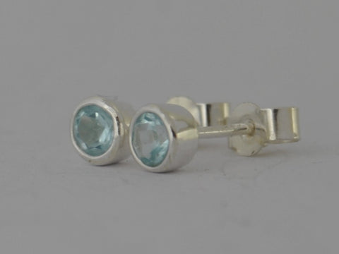 Blue Topaz Sterling Silver Stud Post Earrings December Birthstone Gift 4mm