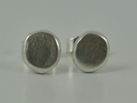 Recycled Sterling Silver Pebble Earrings Ear Post Stud