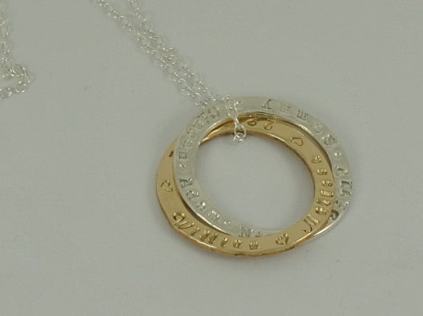 Personalised mothers double rolling ring sterling silver yellow personalised mothers double rolling ring sterling silver yellow gold 9ct pendant necklace aloadofball Choice Image