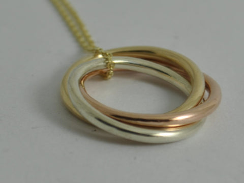 solid GOLD RUSSIAN RING Pendant Necklace tri colour yellow gold white gold rose gold Jewellery