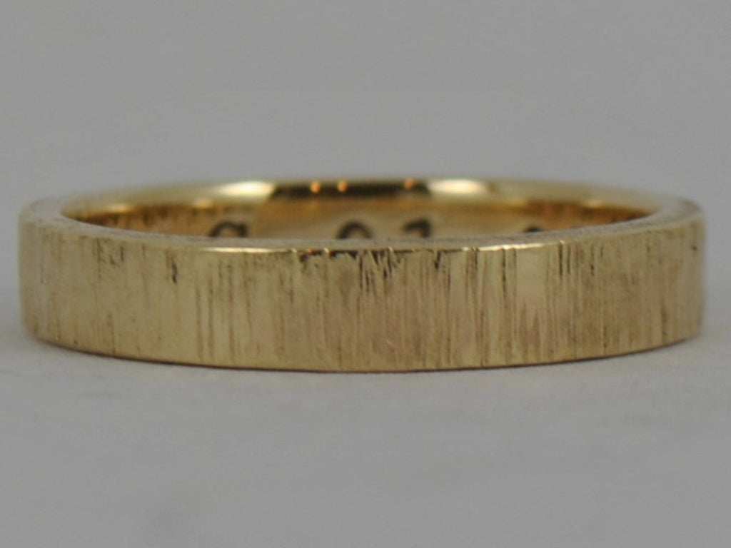 Personalised 9ct Yellow White, Rose GOLD TREE BARK texturised ladies womens wedding ring Unisex 4mm
