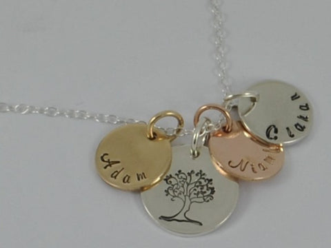 Gold Personalised Family Tree Necklace Mother's Sterling Silver Pendant Rose Yellow Name Jewellery