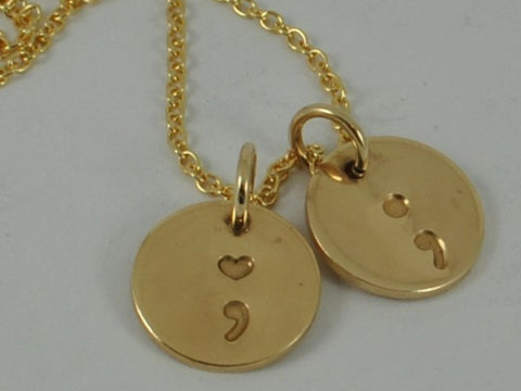 GOLD SEMICOLON Necklace Pendant Semi colon Yellow or Rose Gold Fill