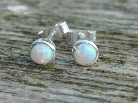 Opal Sterling Silver Stud Post Earrings White Blue Black Dainty October Birthstone Gift