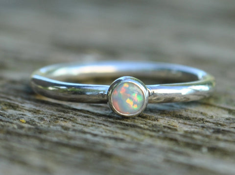White, Black or Blue OPAL Hammered Sterling Silver Ring Stackable October Birthstone Solitare