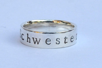 Wide band ladies personalised sterling silver ring