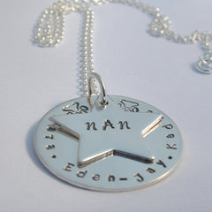 Personalised Star Stamped Mum / Nan / Grandma / nanny / Granny Family Sterling Silver Necklace