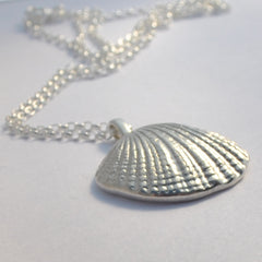 Seashell sterling silver pendant necklace handcast from the Jurassic Coast sea shell beach nauctical