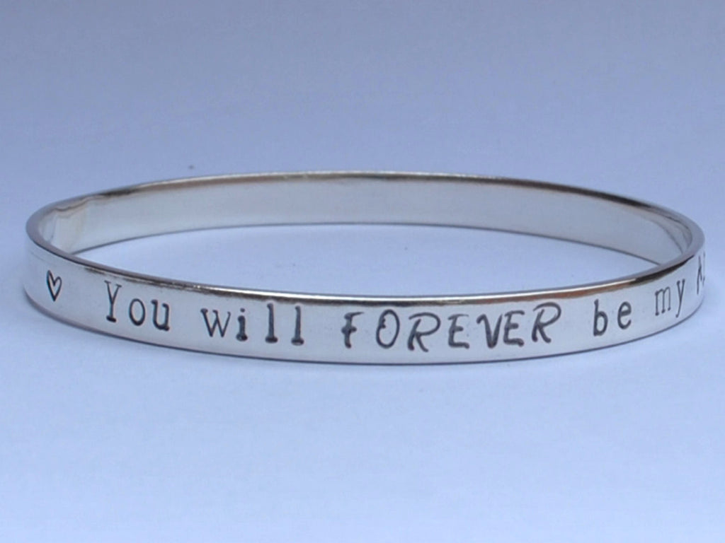Personalised Solid Sterling Silver smooth Polished Bangle / Bracelet - Stacking - UK