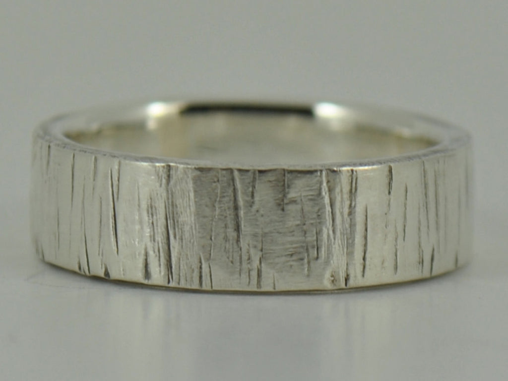 Textured Tree Bark Sterling Silver Womens Personalised Wedding Ring Band - 3mm, 4mm