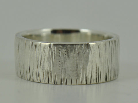 Textured Tree Bark Sterling Silver Mans Wedding Ring Band - Personalised 6mm, 8mm